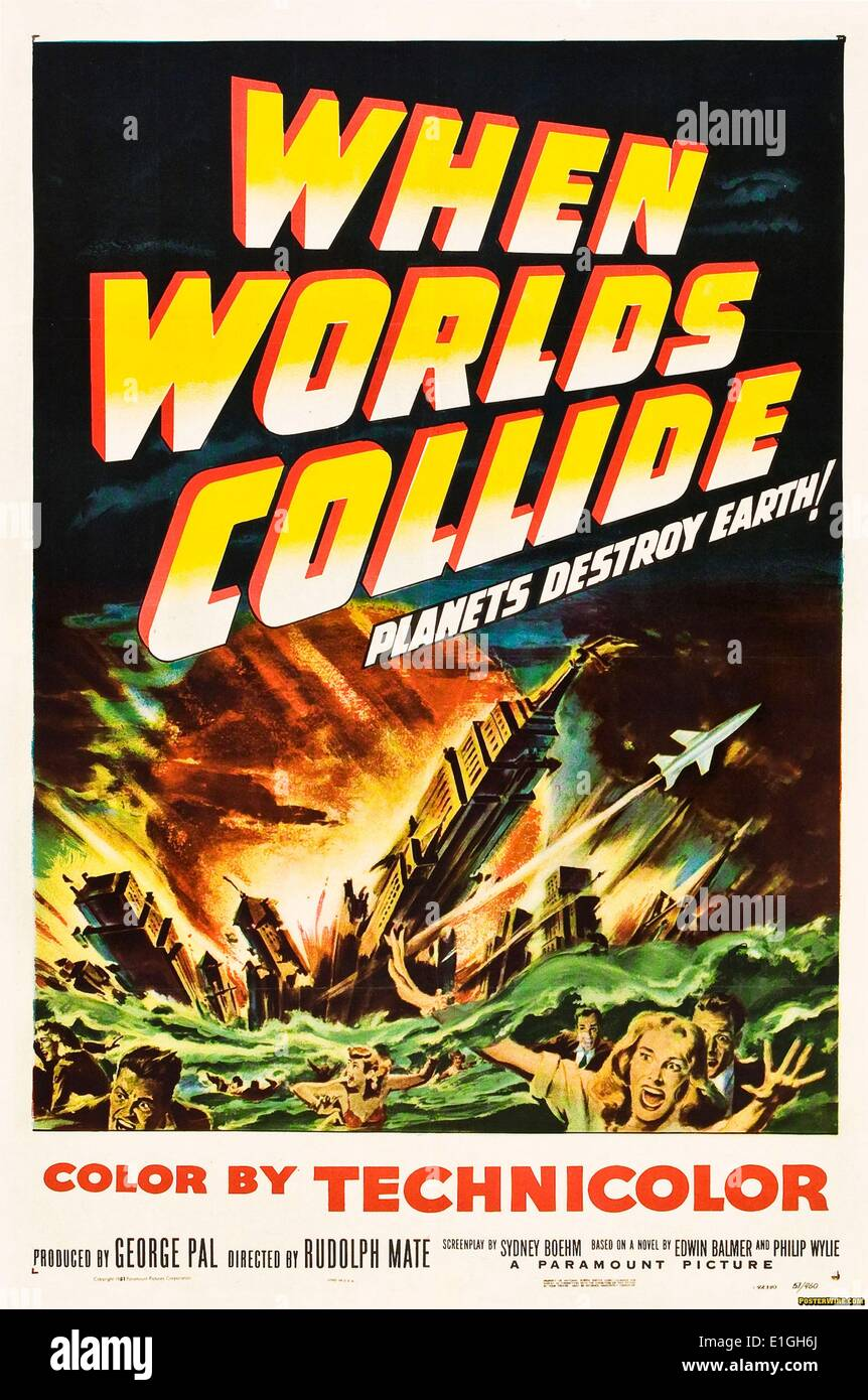 When Worlds Collide, produced by George Pal and directed by Rudolph Maté. The film inspired Deep Impact. - Stock Image
