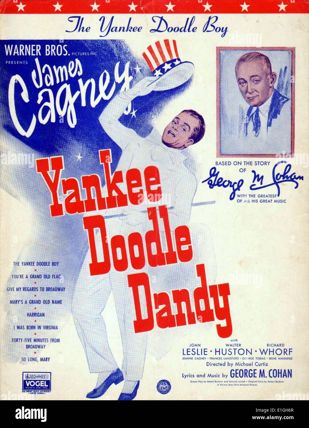 Yankee Doodle Dandy a 1942 American biographical musical film about George M. Cohan, known as 'The Man Who Owned Broadway'. It - Stock Image