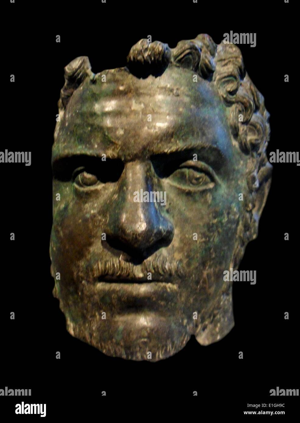 Fragmentary bronze portrait of the emperor Caracalla.  Roman, Severan, ca A.D. 212-217 Stock Photo