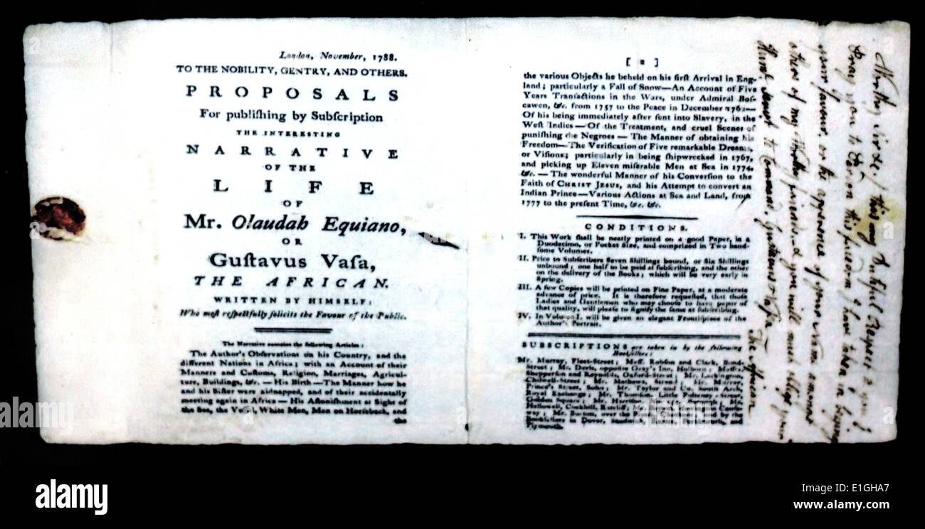 advert for the autobiography of Olaudah Equiano (c. 1745 – 31 March 1797) - Stock Image