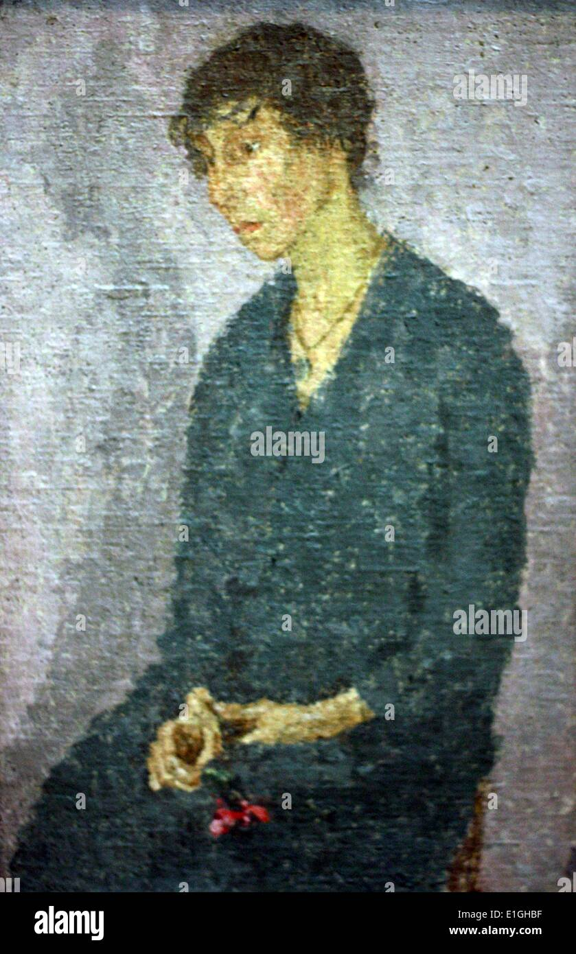 Woman holding a flower, late 1910s, early 1920s by Gwen John (1876-1939) oil on canvas - Stock Image