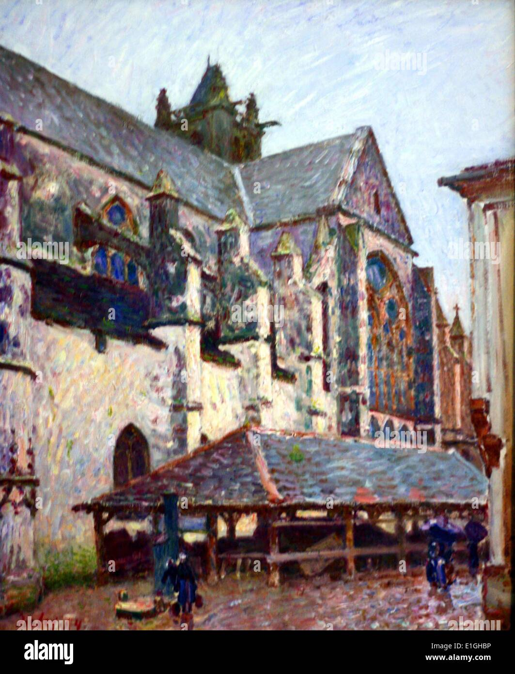 The Church of Moret in the Rain, 1984 by  Alfred Sisley (1839-1899), oil on canvas. - Stock Image