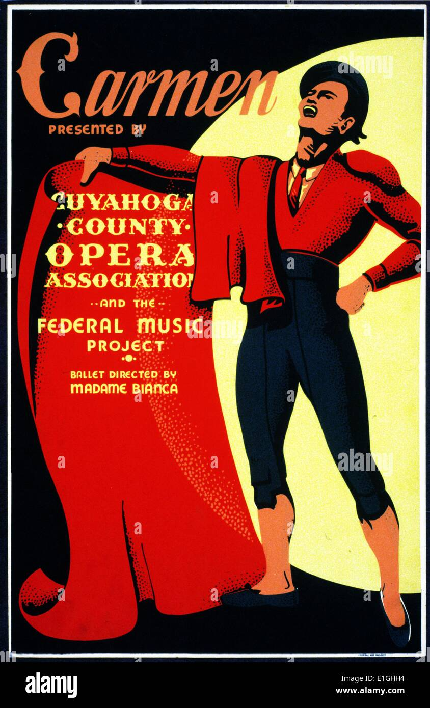 Carmen, Presented by Cuyahoga County Opera Association and the Federal Music Project. Ballet directed by Madame Bianca. Poster - Stock Image
