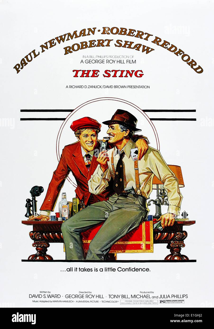 'The Sting' a 1973 American caper film starring Paul Newman, Robert Redford and Robert Shaw. - Stock Image