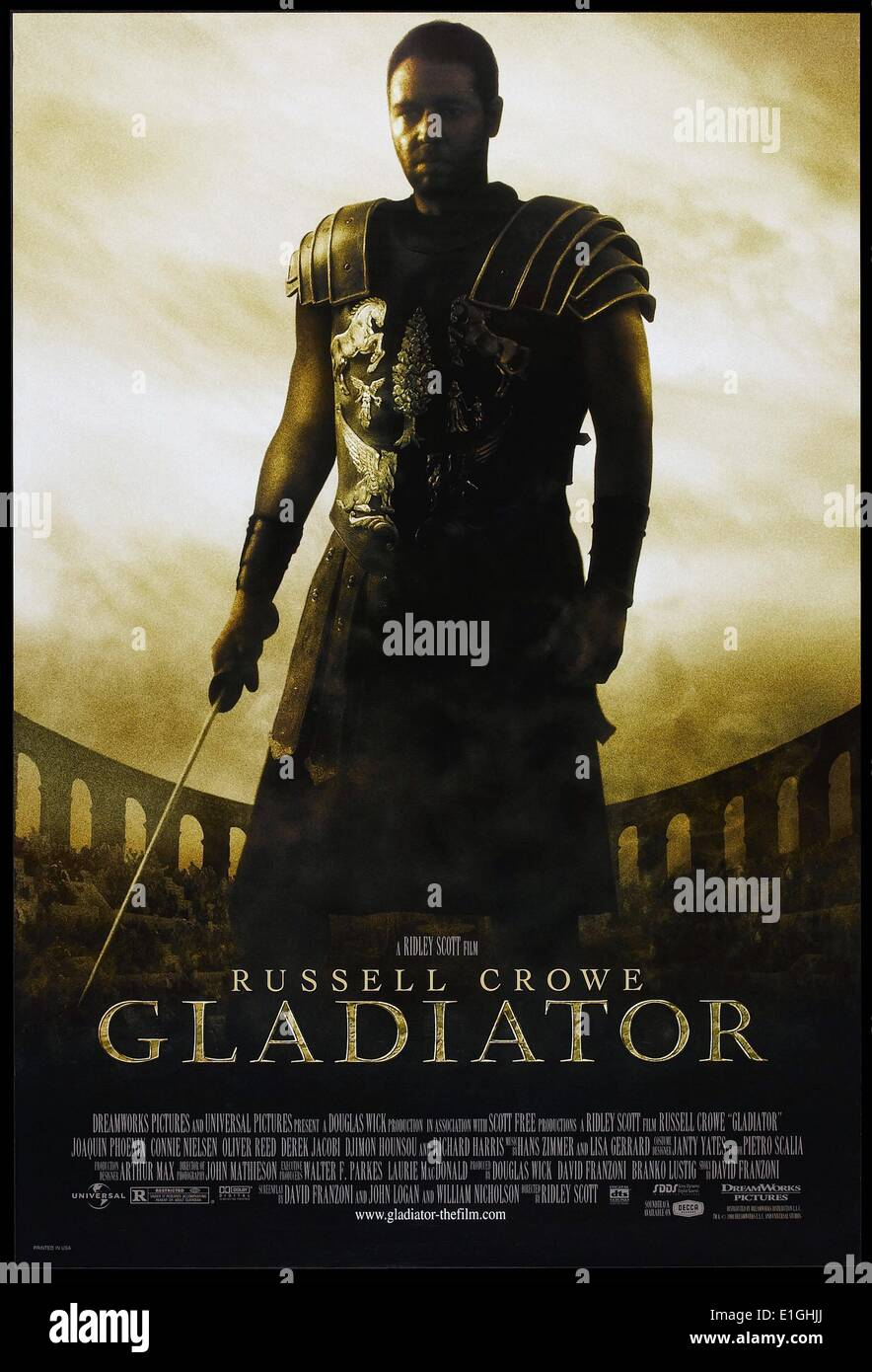 'Gladiator' a 2000 British-American epic historical drama film starring Russell Crowe, Joaquin Phoenix, Connie Nielsen, Ralf - Stock Image