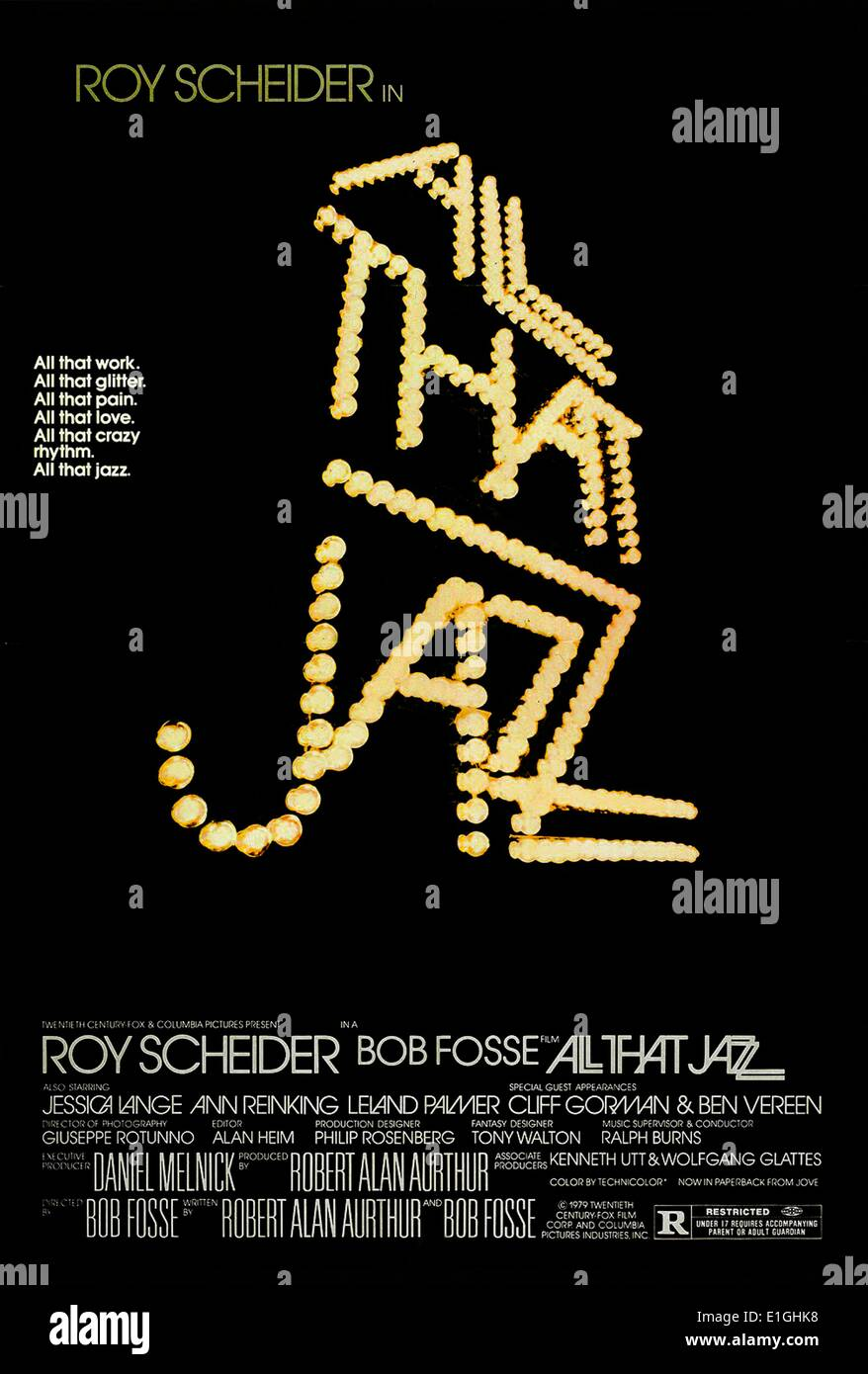 'All That Jazz' a 1979 American musical film starring Roy Scheider. - Stock Image