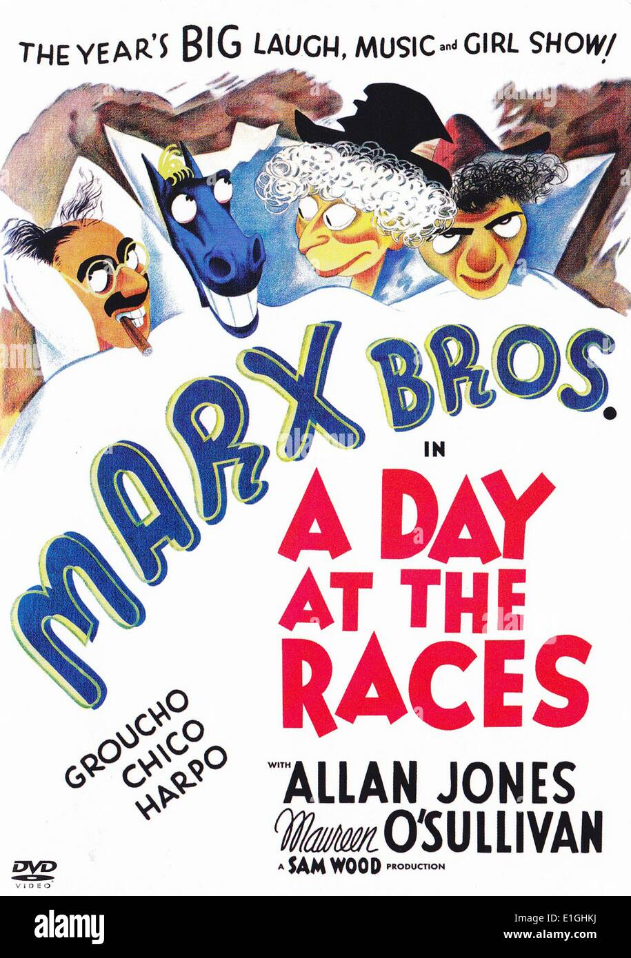 'A Day At The Races' 1937 is the seventh film starring the three Marx brothers. - Stock Image