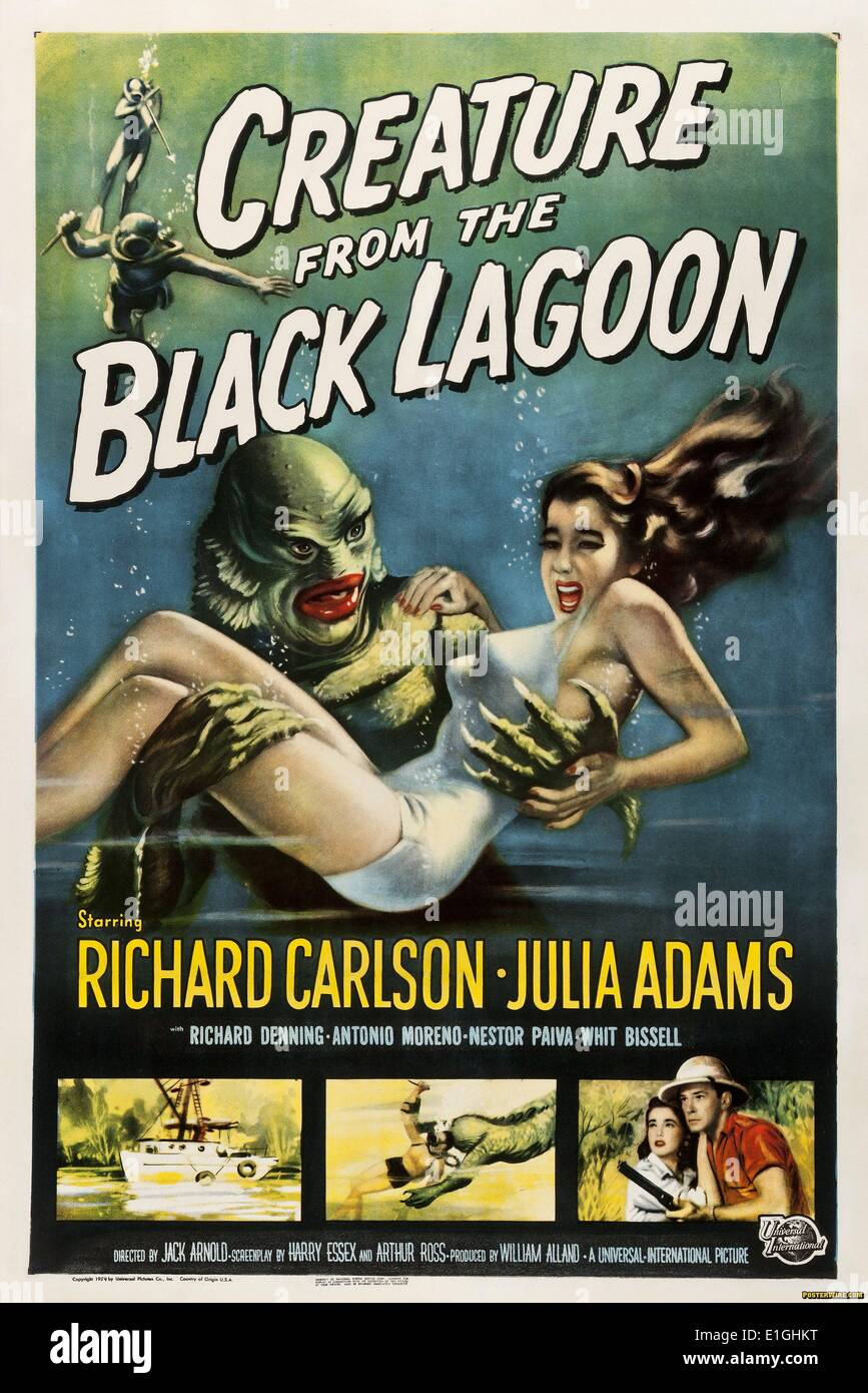 'Creature from the Black Lagoon' a 1954 monster film starring Richard Carlson. - Stock Image