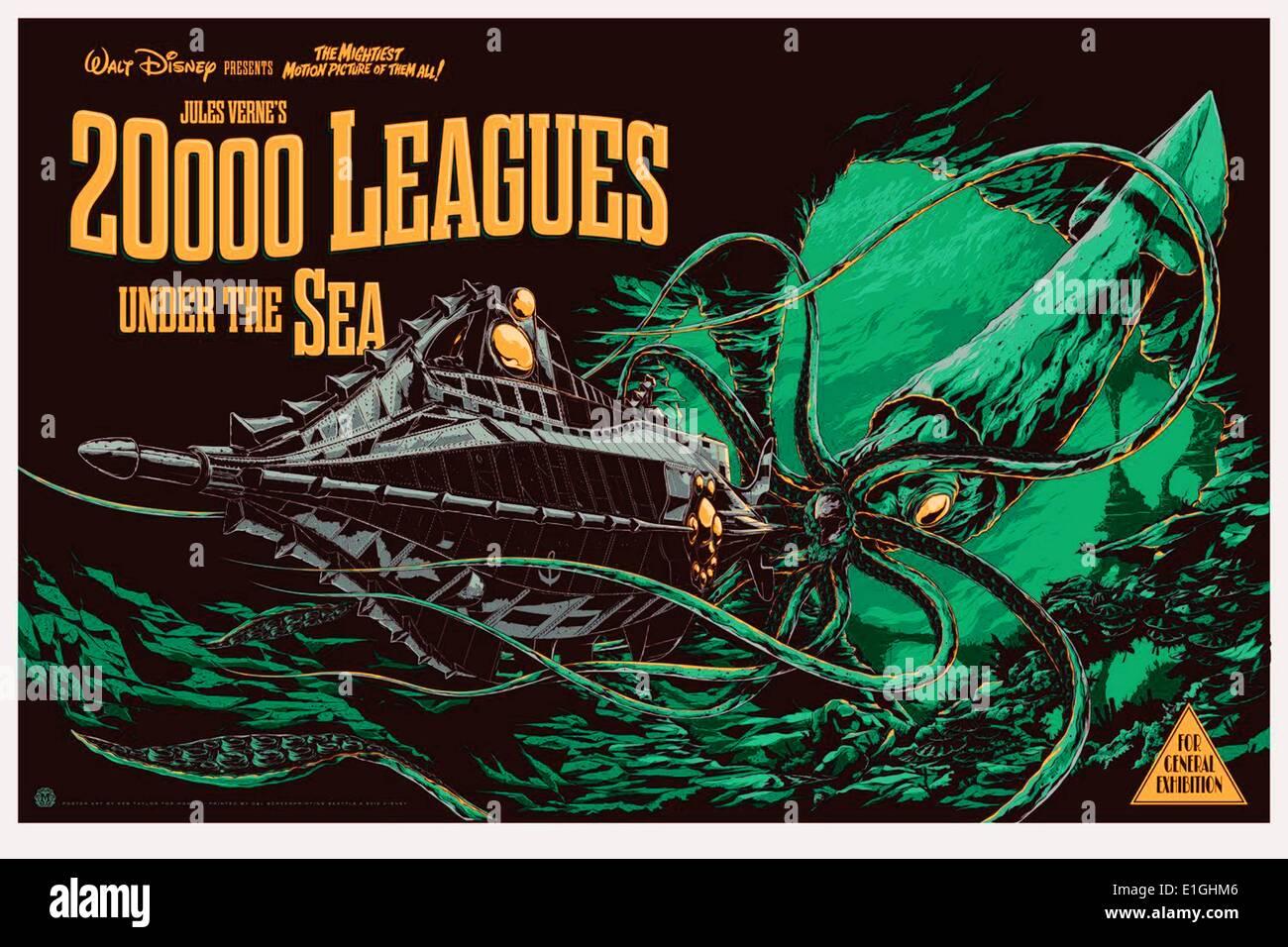 '20,000 Leagues Under The Sea' a 1954 American adventure film starring Kirk Douglas. - Stock Image