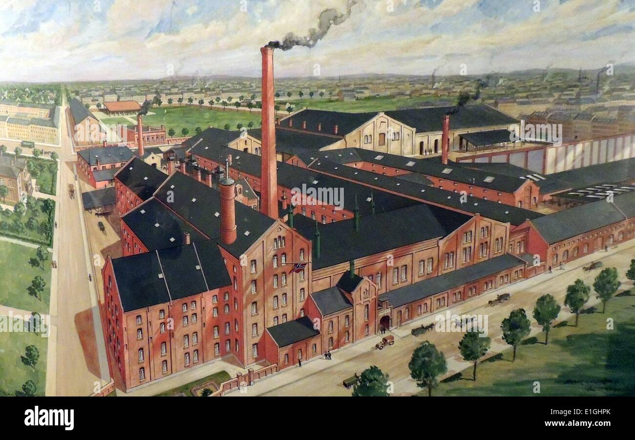 Early twentieth century factory, Norwegian, 1914 - Stock Image