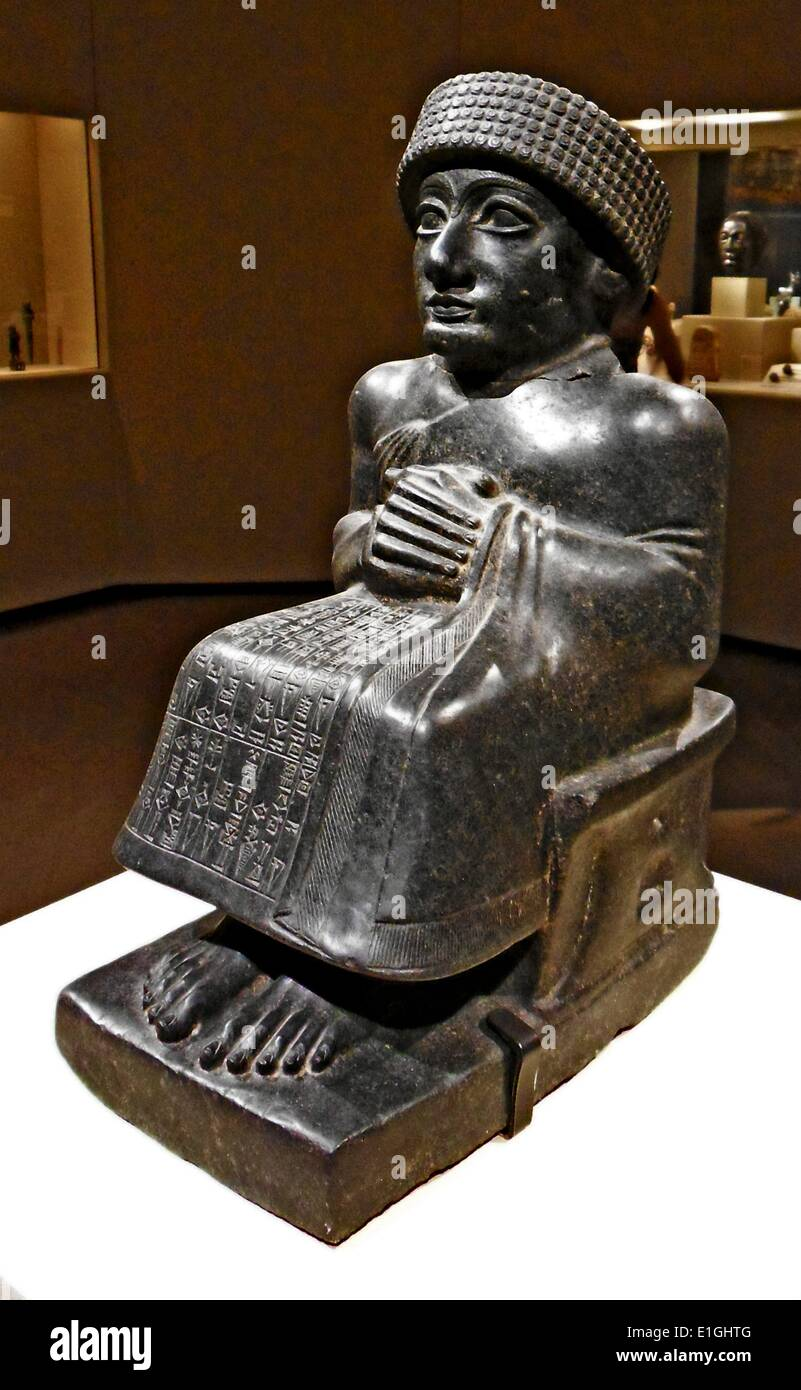 statue of Prince Gudea was a ruler of the state of Lagash in Southern Mesopotamia ca. 2144 - 2124 BC. - Stock Image