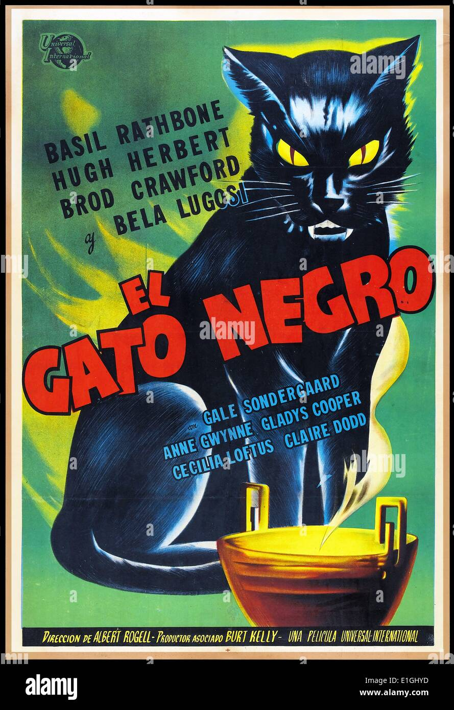 El Gato Negro Spanish Film Poster For The Black Cat A 1941 Film Stock Photo Alamy
