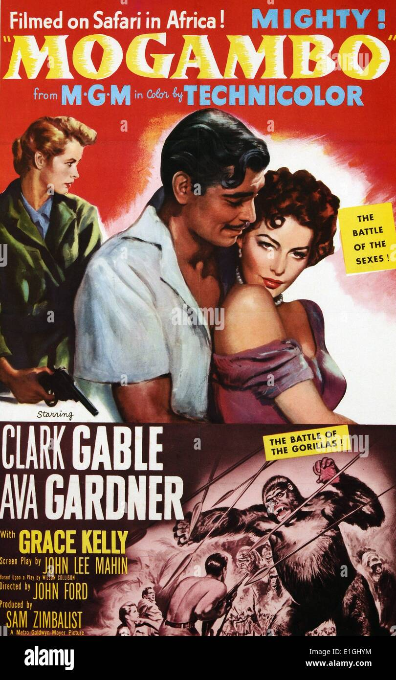 'Mogambo' a 1953  film starring Clark Gable and Ava Gardner. - Stock Image
