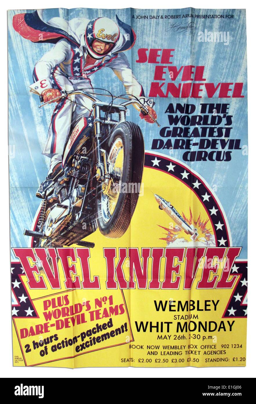 'Evel Knievel' a 1971 daredevil motion picture starring George Hamilton. - Stock Image