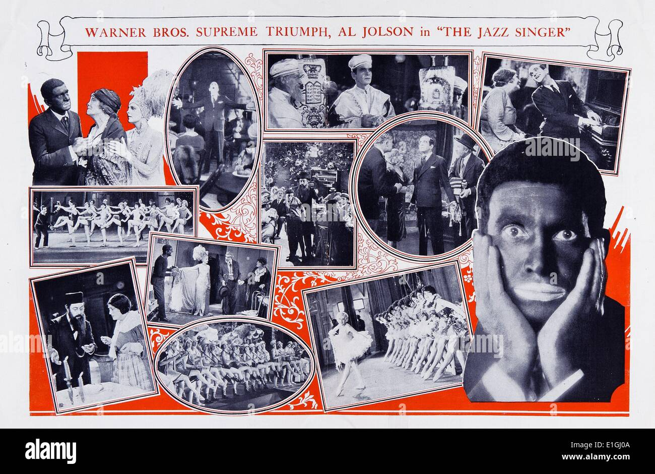 Al Jolson in 'The Jazz Singer, a 1927 American musical film. - Stock Image