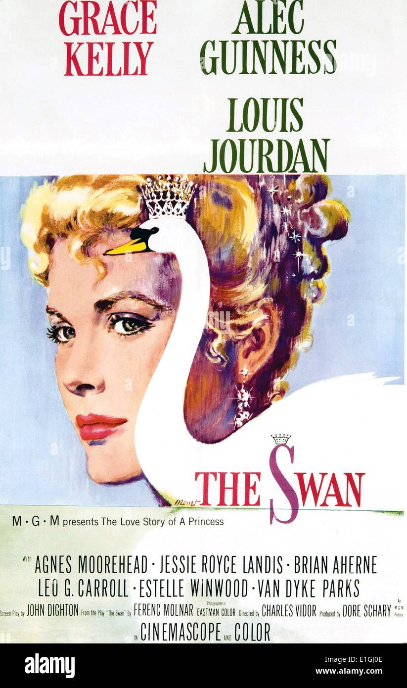 'The Swan' starring Grace Kelly, Alex Guinness and Louis Jourdan a 1956 romantic comedy. - Stock Image