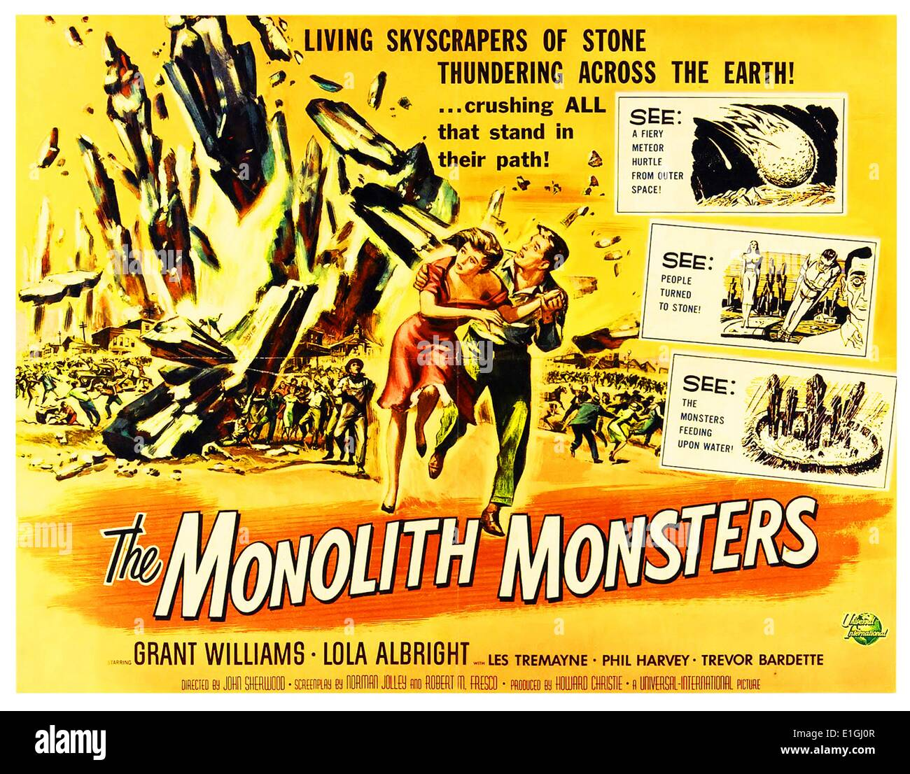 'The Monolith Monsters' starring Grant Williams and Lola Albright a 1957 science fiction film. - Stock Image