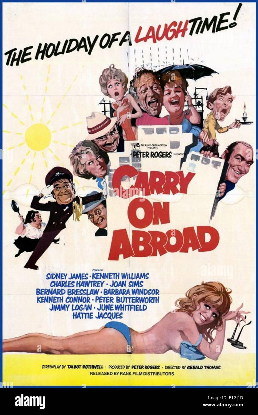 Carry On Abroad is the twenty-fourth in the series of Carry On films to be made, released in 1972. The film features - Stock Image