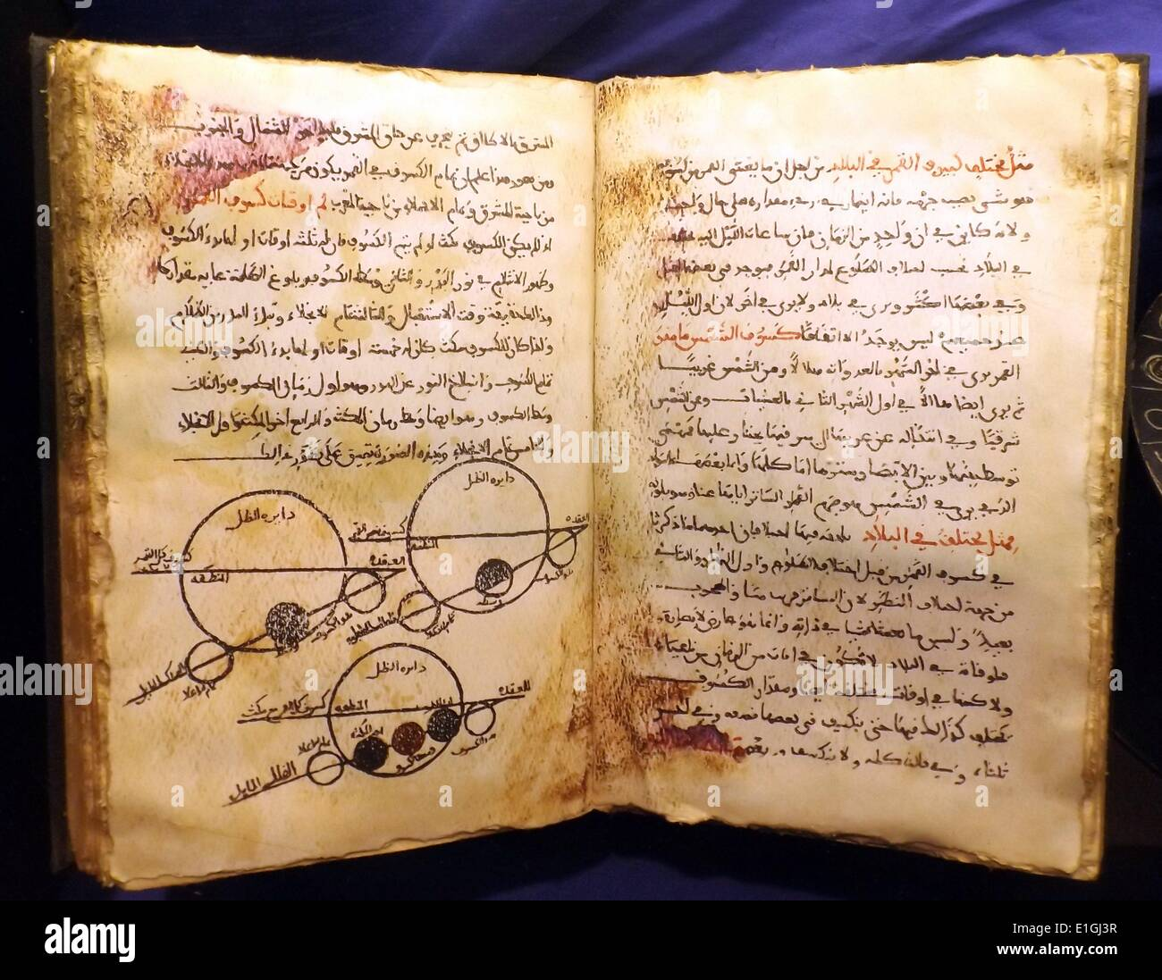 Open replica book of Biruni's astronomical encyclopaedia 'Kitab at-Qanun al-Mas'udi', showing planetary motions. - Stock Image