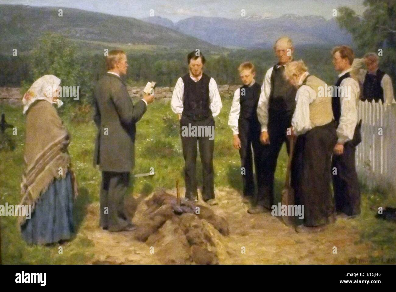 Peasant Burial 1883-85 by Erik Werenskiold (1855-1938), oil on canvas. - Stock Image