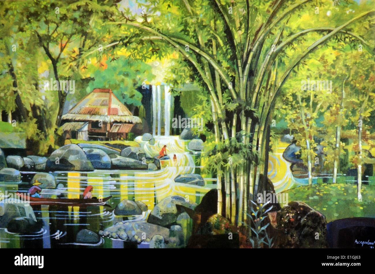 Hugo C. Yonzon Jr. Tanawin sa Talon, 1993, Oil on canvas. - Stock Image