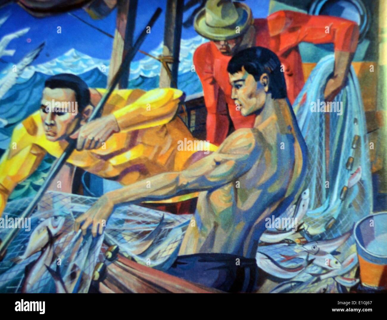 Hugo C. Yonzon Jr.  Fishermen, 1987, Oil on canvas - Stock Image