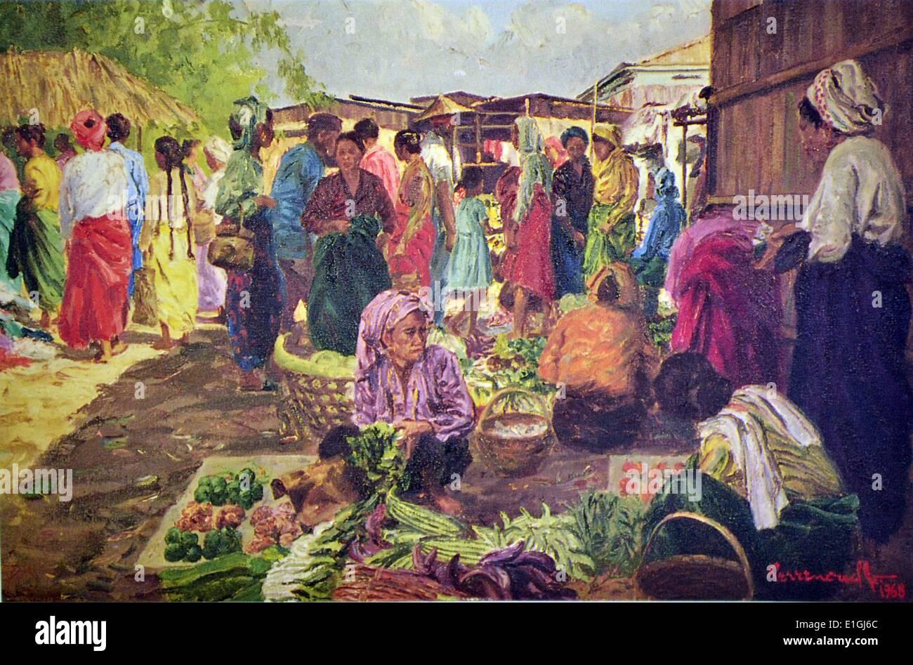 Eduardo Gonzales Perrenoud, Jr., Mga Labandera sa Ilog, 1967, Oil on canvas. - Stock Image