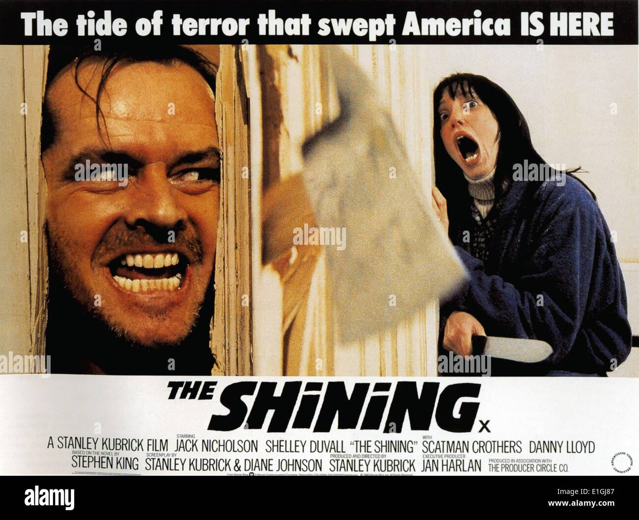 'The Shining' a 1980 British-American psychological horror film starring Jack Nicholson and Shelly Duvall. - Stock Image