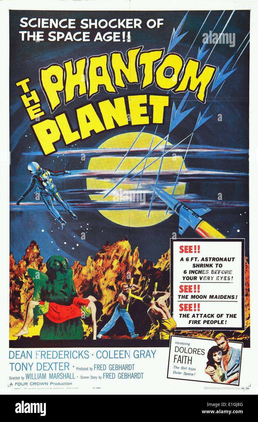 The Phantom Planet is a 1961 science fiction film directed by William Marshall - Stock Image