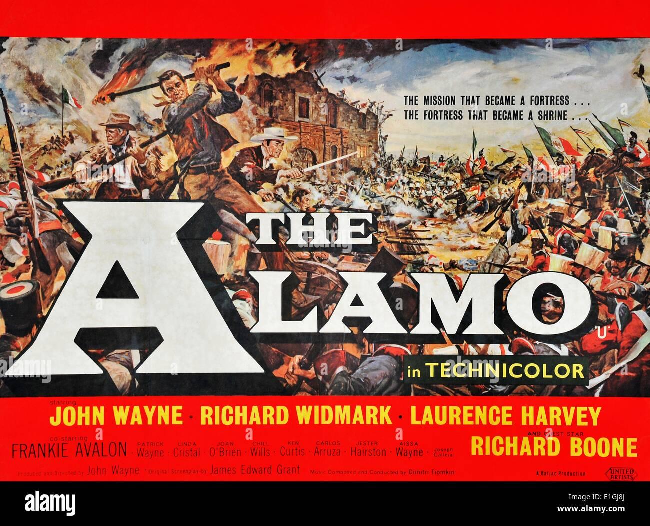 'The Alamo' starring John Wayne, Richard Widmark, Laurence Harvey and Richard Boone. The Battle of the Alamo (February 23 – - Stock Image
