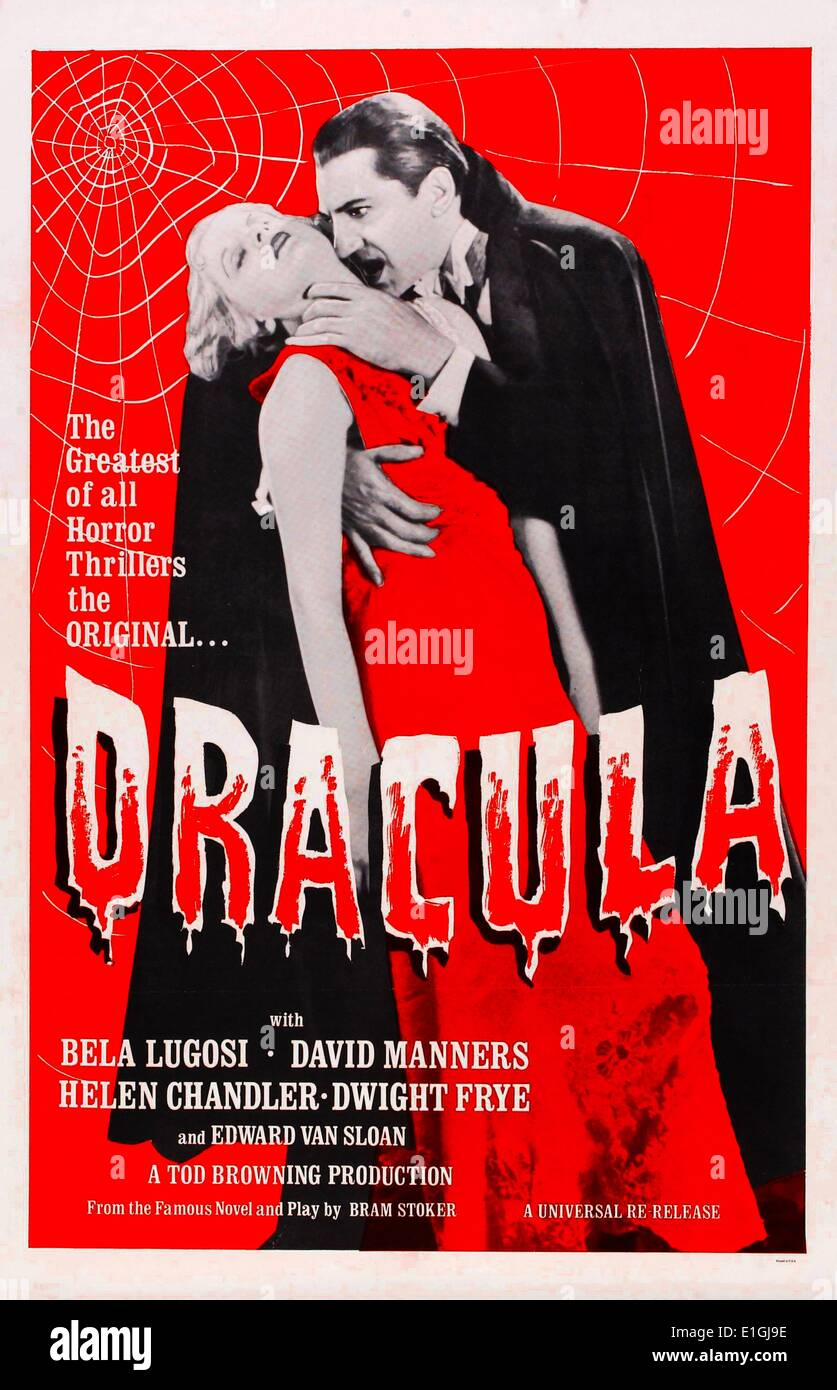 Dracula starring Bela Lugosi, a 1931 vampire-horror film Stock ...
