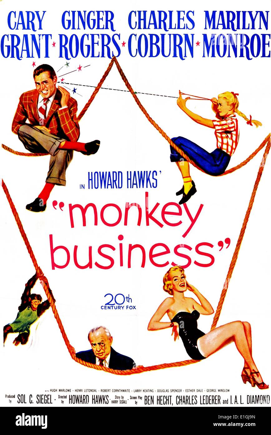 'Monkey Business' starring Gary Grant and Ginger Rogers a classic comedy film. - Stock Image