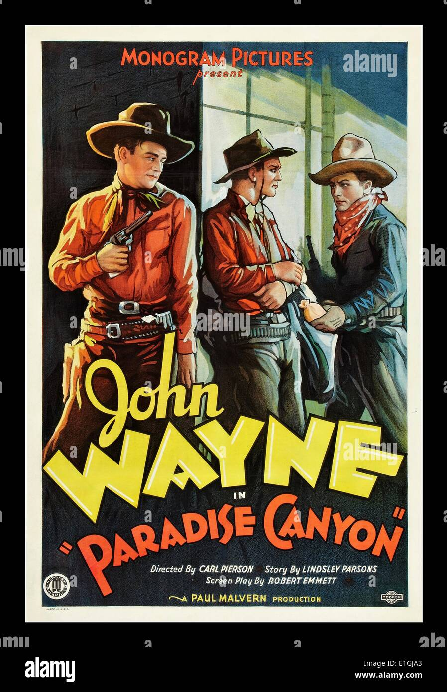 'Paradise Canyon' a 1935 western movie starring John Wayne - Stock Image