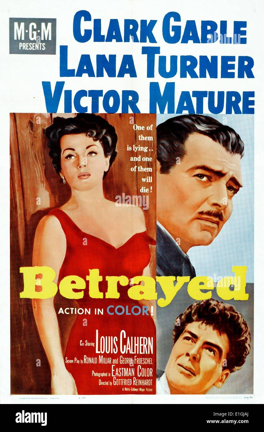 'Betrayed' was a 1954 war drama film starring Clark Gable, Lana Turner and Victor Mature. - Stock Image