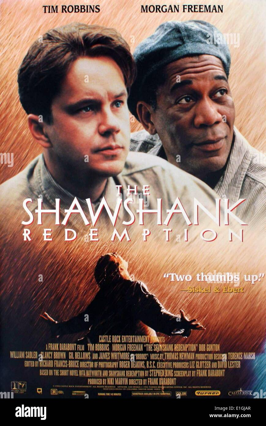 'The Shawshank Redemption' a 1994 American Drama film starring Tim Robbins and Morgan Freeman. - Stock Image