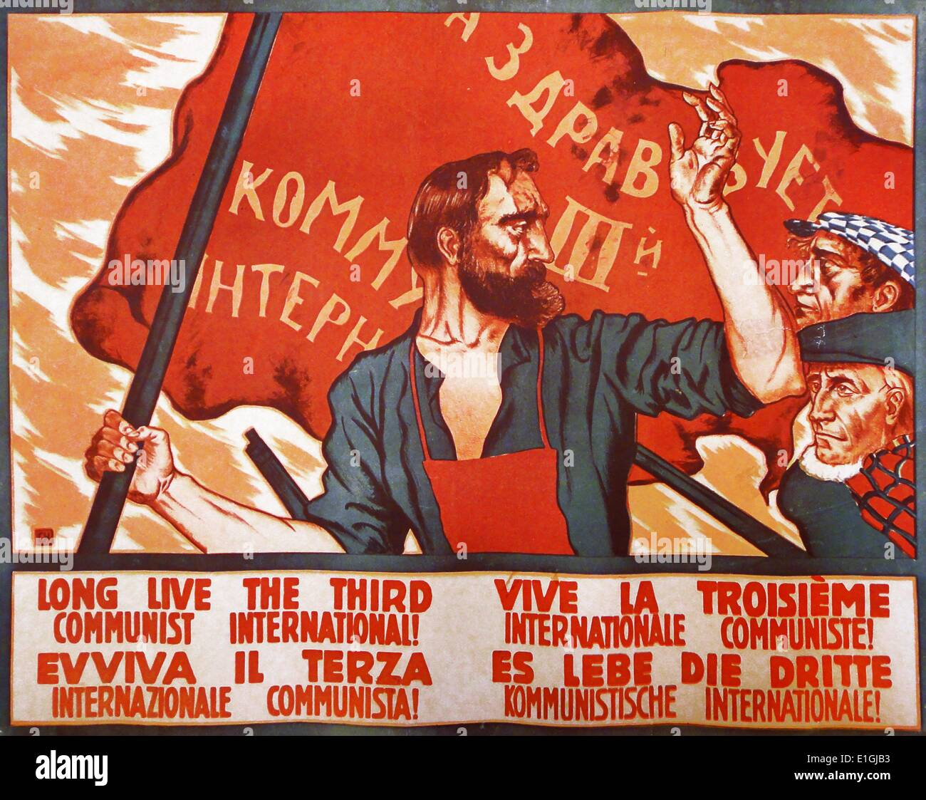 Soviet propaganda poster for the Third International. The Communist International, abbreviated as Comintern and - Stock Image