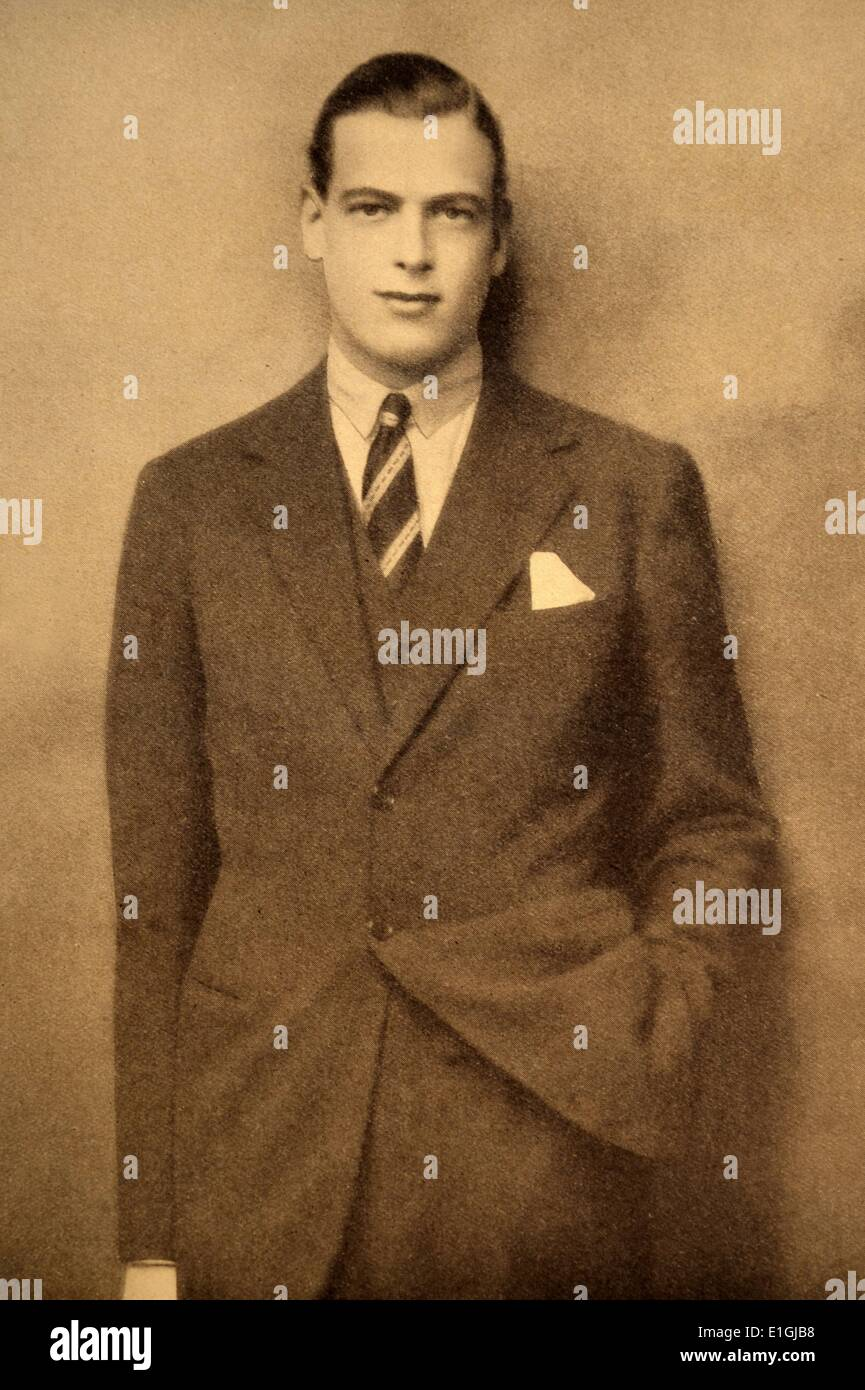 The Prince George, Duke of Kent KG KT GCMG GCVO 1902 – 25 August 1942. member of the British Royal Family, the fourth son and - Stock Image