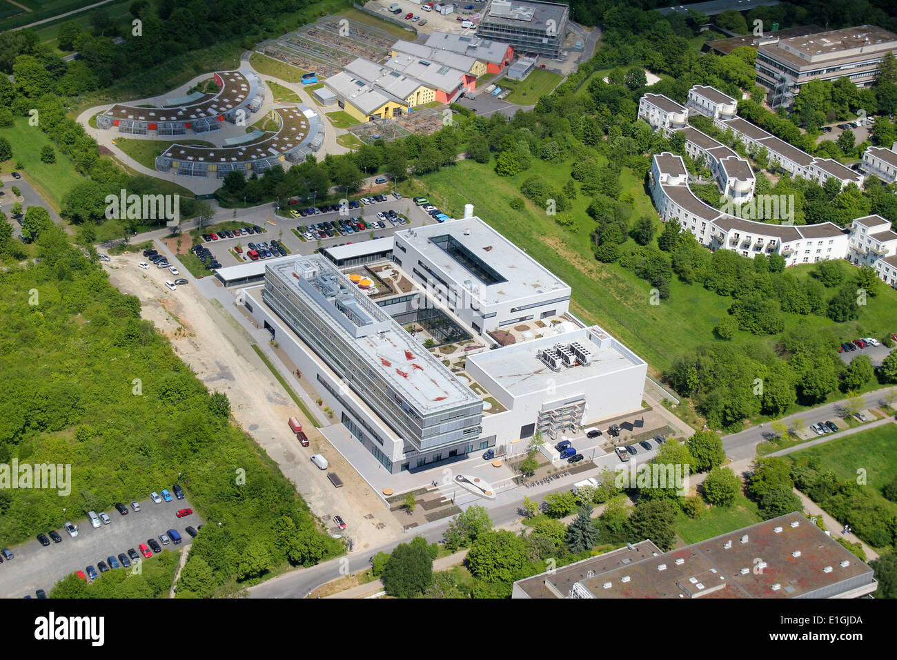 Aerial view of Max Planck Institute for solar system research Göttingen (Lower Saxony, Germany), picture taken at Stock Photo
