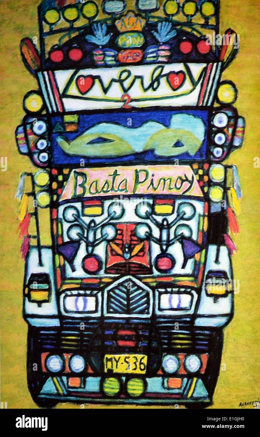Antonio Austria, Jeepney, 1992, Oil on canvas - Stock Image