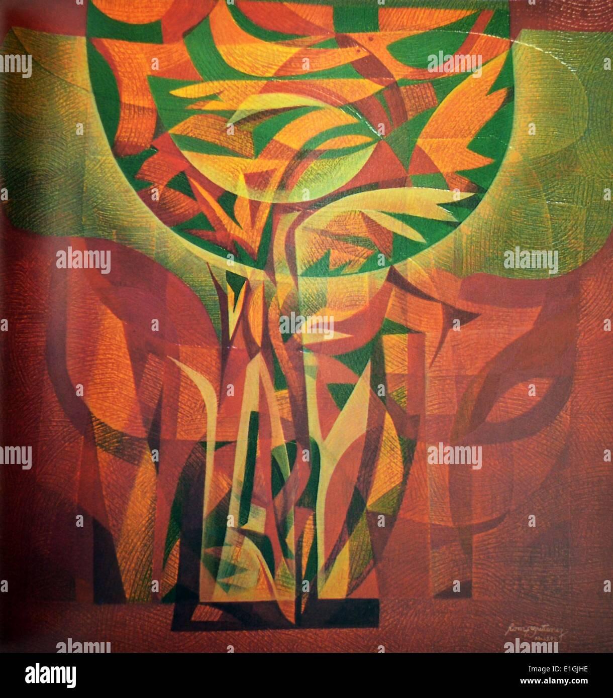 Romeo E Gutierrez, Tree of Life, 1993, Oil on canvas. - Stock Image