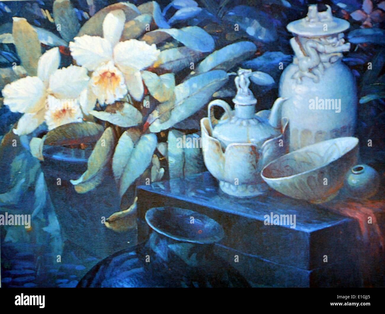 Greg Bolanos, Sung Dynasty, 1993, Oil on canvas. - Stock Image