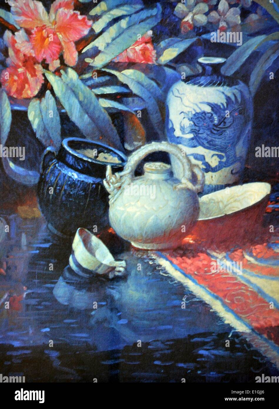 Greg Bolanos, Sung Dynasty II, 1993, Oil on canvas. - Stock Image