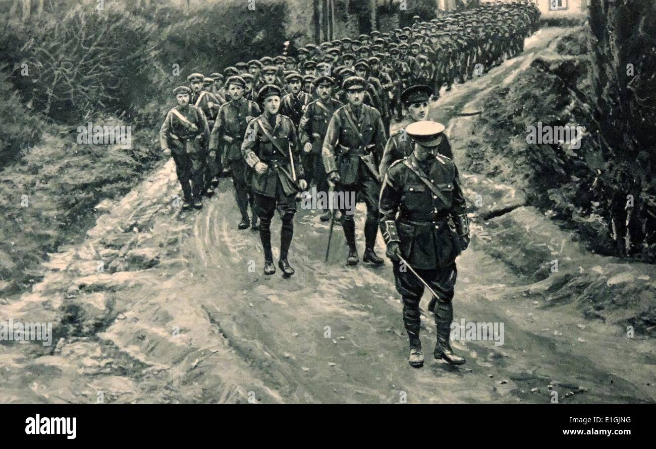 British soldiers parade through a Belgian country lane in World War One. - Stock Image