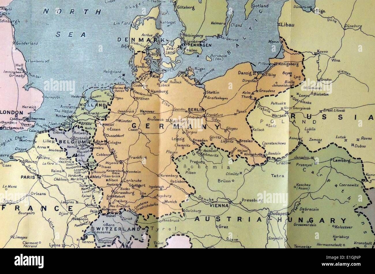 Map Of Germany In 1914.Map Of Germany Poland And The Low Countriin 1914 Stock Photo