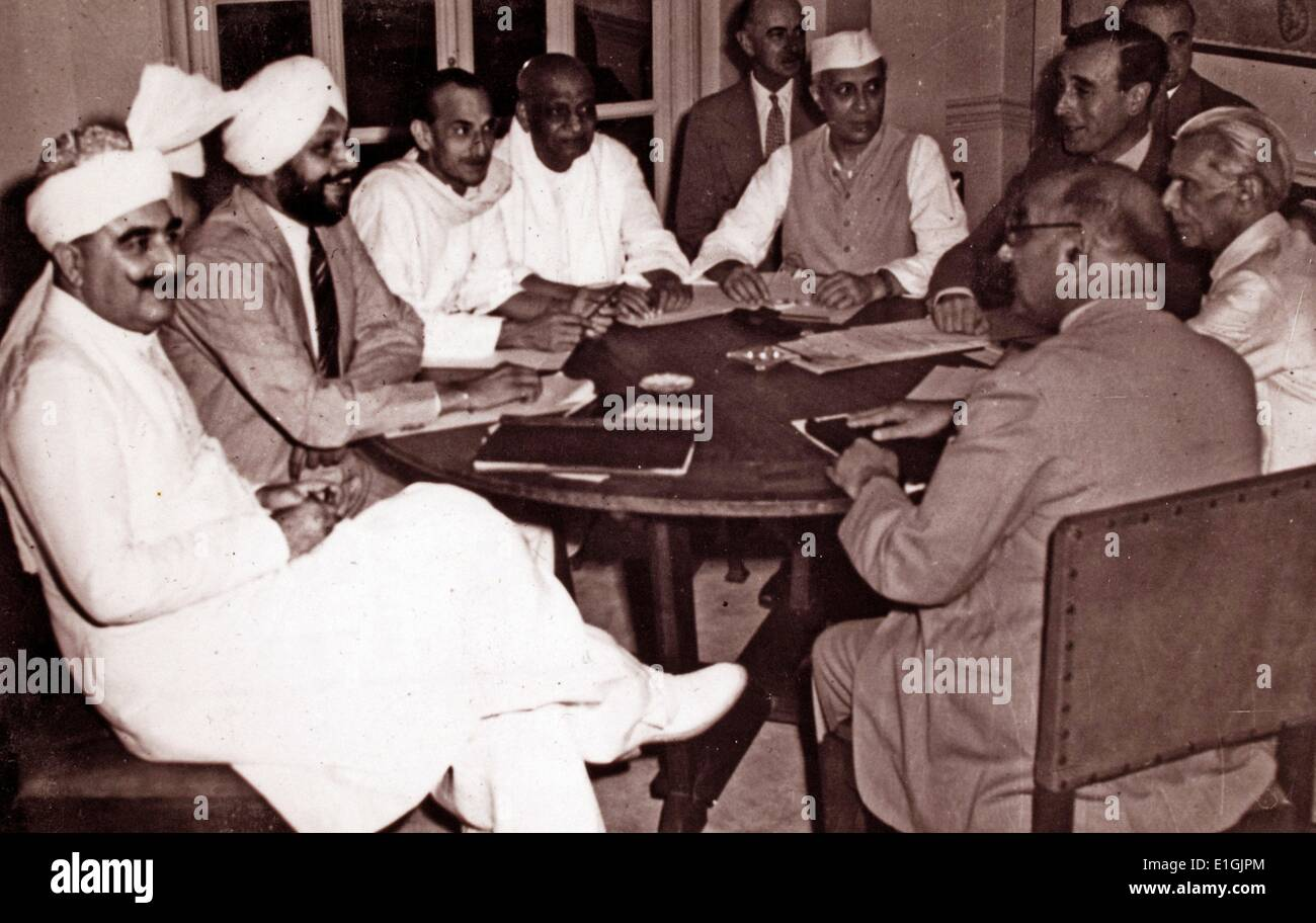 The seven Indian political leaders accept the plan for the transfer of power, 3 June 1947. The Partition of India is agreed by - Stock Image