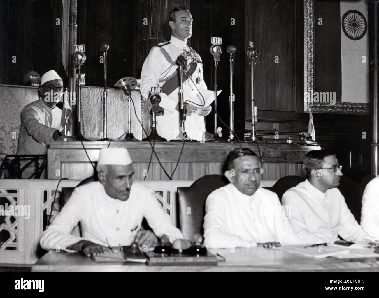 Jawaharlal Nehru and Lord Mountbatten Declare Indian Independence in Constituent Assembly, Delhi 15 August 1947 - Stock Image