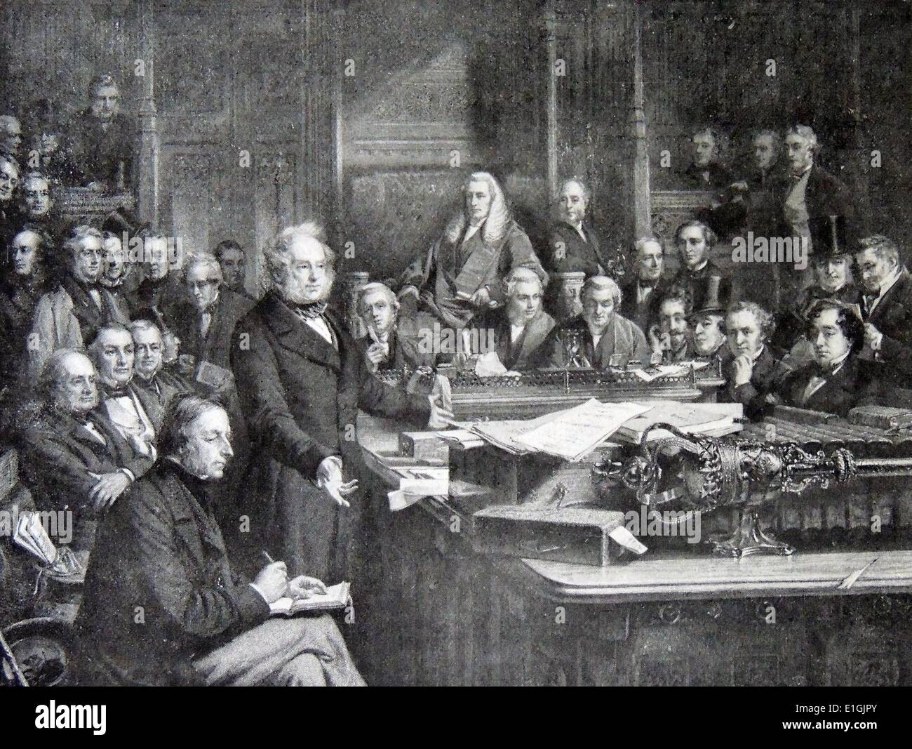 Viscount Palmerston, (20 October 1784 – 18 October 1865), known popularly as Lord Palmerston addresses the British House of - Stock Image