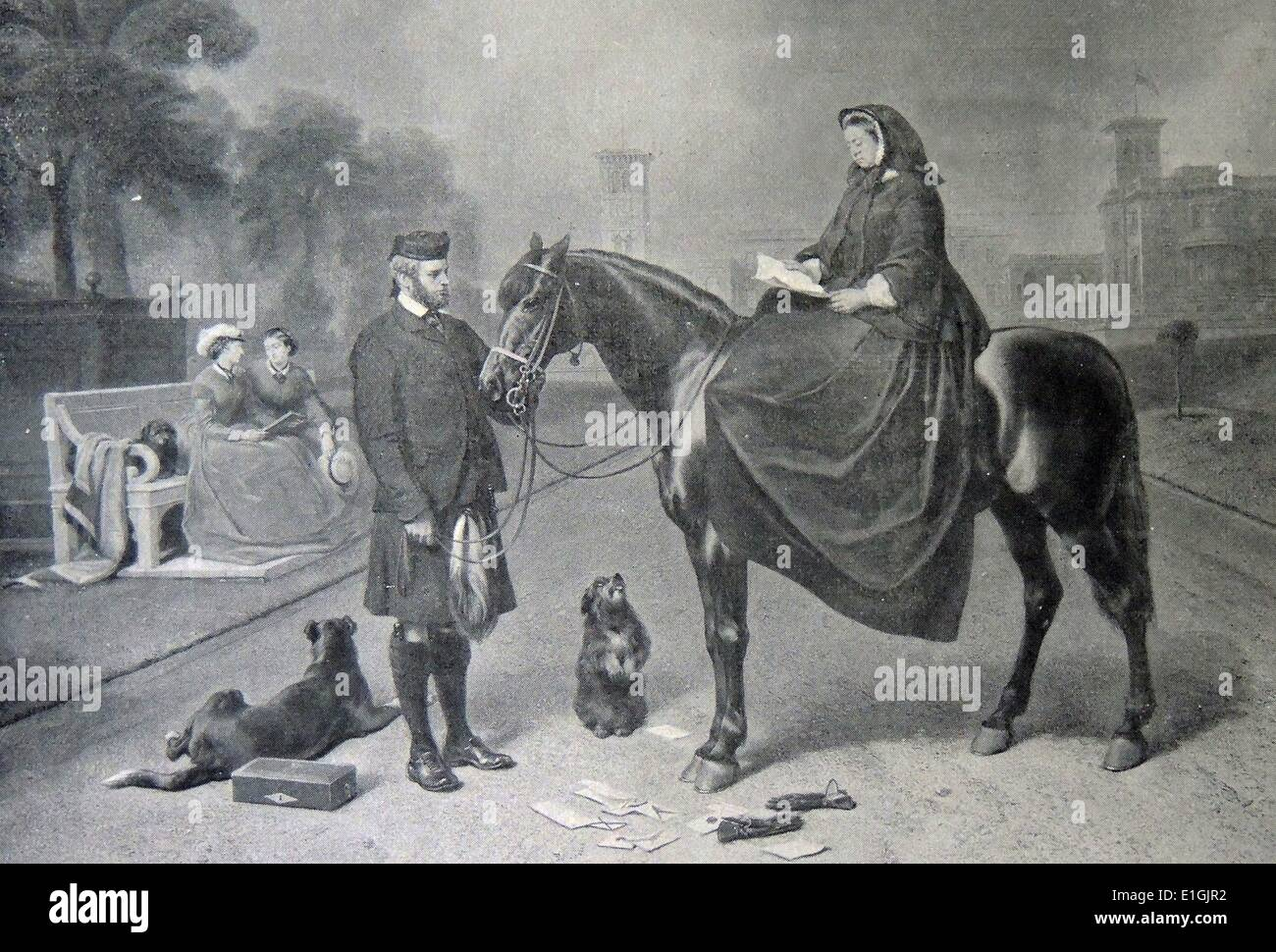 Britain's Queen Victoria and John Brown at Balmoral, 1863 - Stock Image