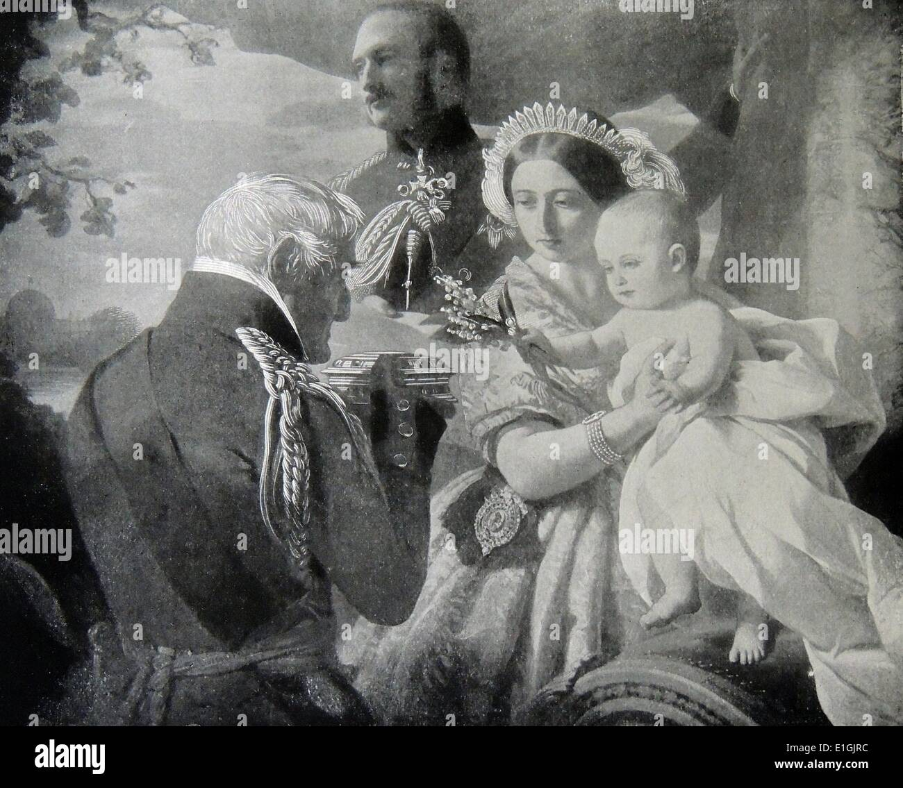 The Duke of Wellington with Prince Albert, his wife Queen Victoria, and their son, the future Edward VII at Walmer Castle - Stock Image