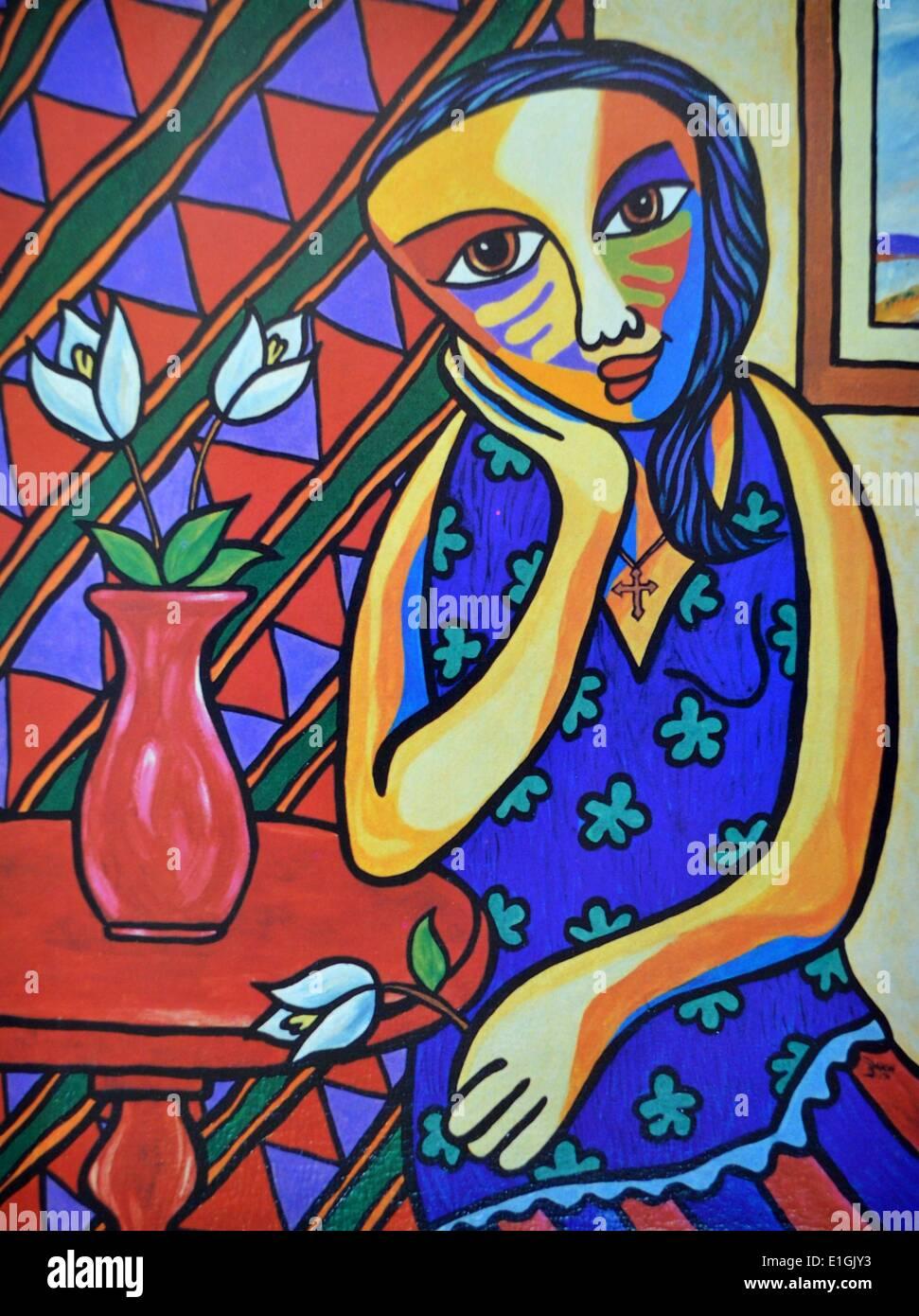 Philipp Badon, Blooming Lady, 1994. Acrylic on canvas. - Stock Image